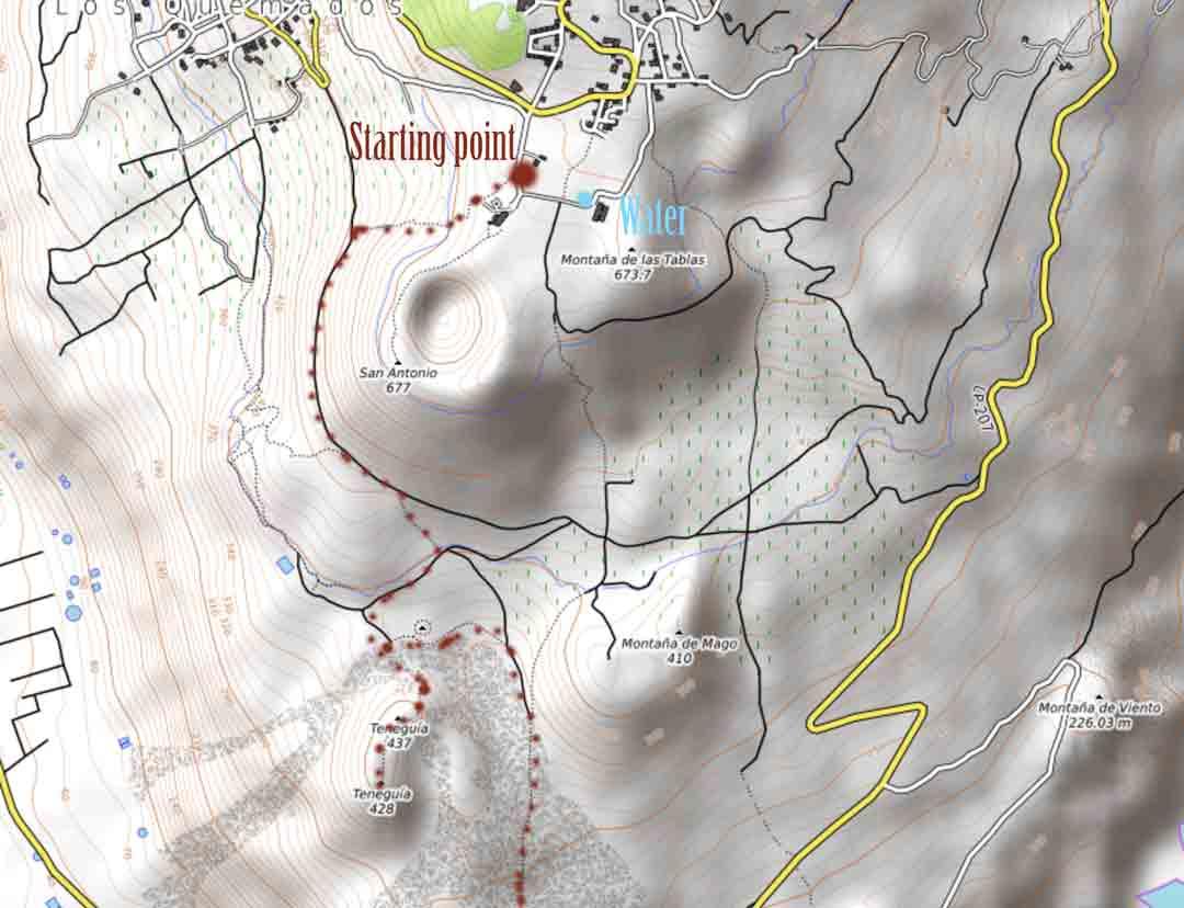 hiking to teneguia volcano map