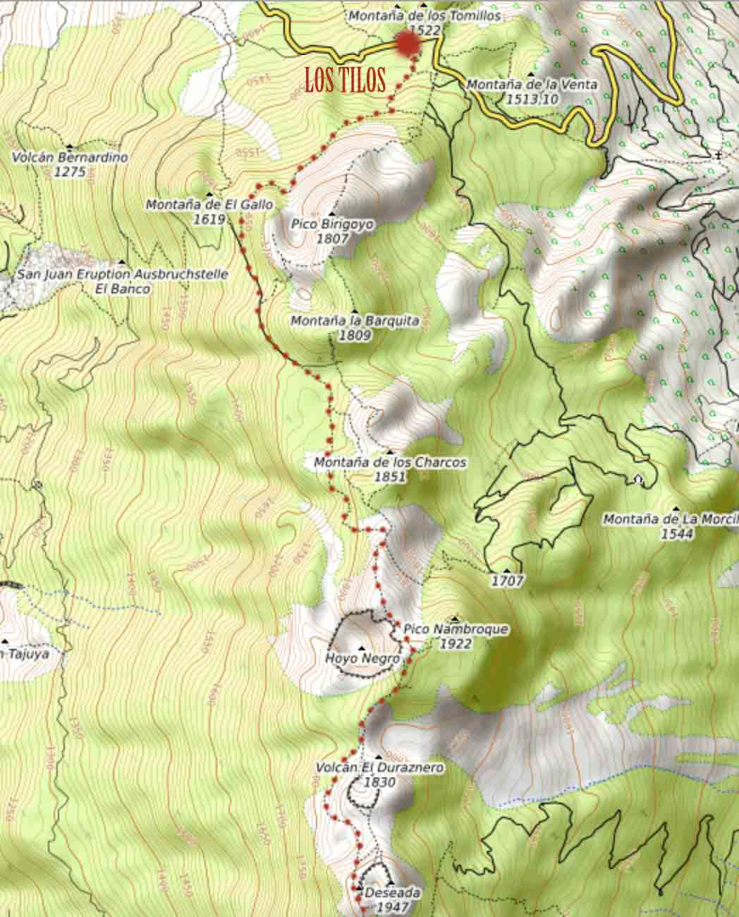 route of the volcanoes map hike