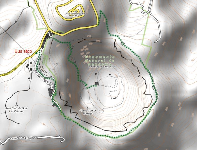 hiking map caldera de bandama